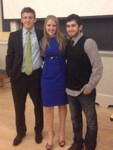 Speaker Alex Epstein, moderator Brittany Rivera, and organizer Julian Hassan – at the Vassar lecture