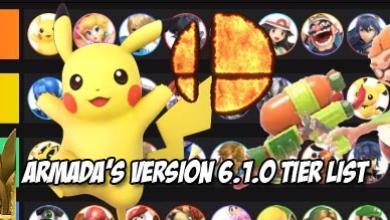 Armada releases his version 6.1.0 tier list for Super Smash Bros. Ultimate