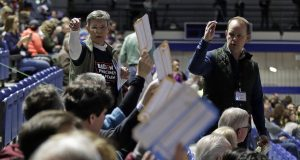 Lines, some delays signal strong turnout at Iowa caucuses