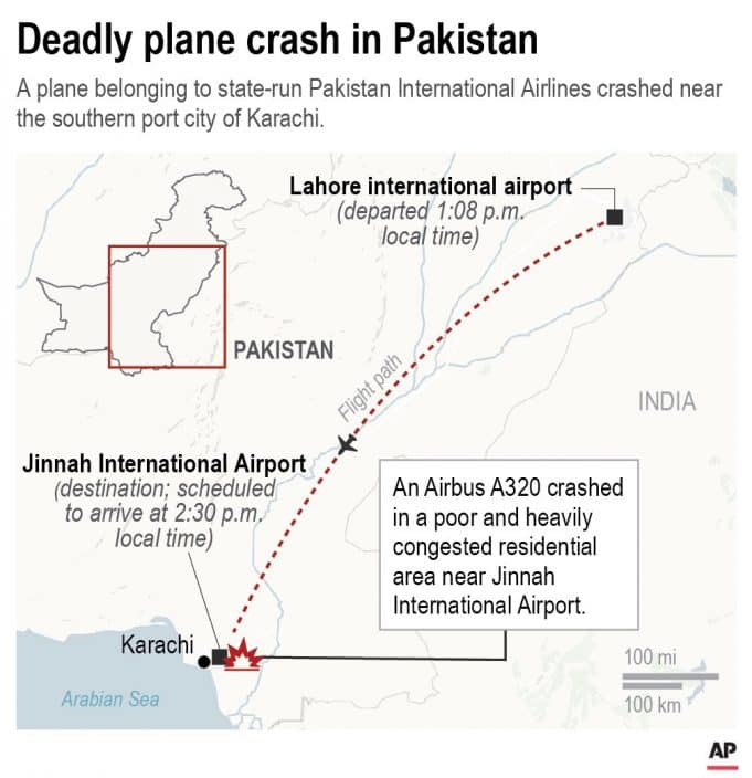 Pakistan jet with 98 aboard crashes come Karachi airport